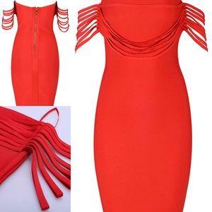 Dresses & Skirts - Red Off shoulders Bandage Dress